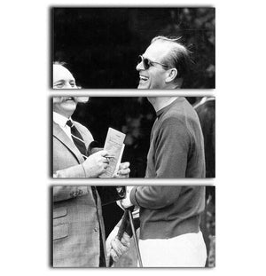 Prince Philip chatting with the comedian Jimmy Edwards 3 Split Panel Canvas Print - Canvas Art Rocks - 1
