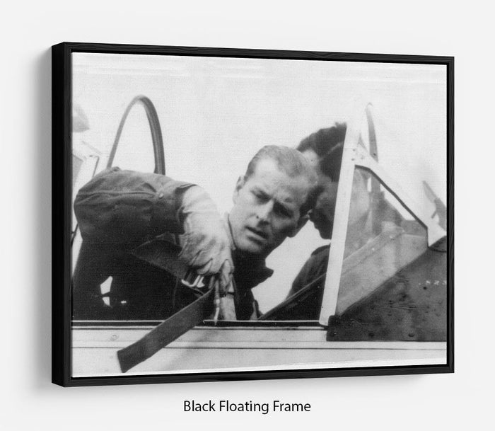 Prince Philip in the cockpit about to receive his RAF Wings Floating Frame Canvas