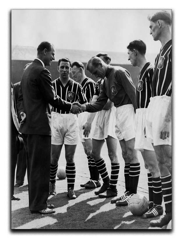 Prince Philip meeting members of Manchester City team Canvas Print or Poster  - Canvas Art Rocks - 1