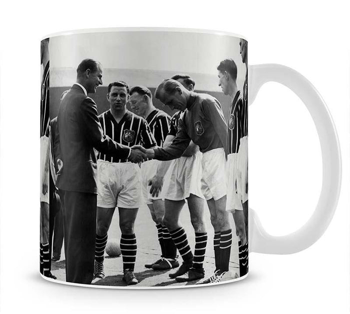 Prince Philip meeting members of Manchester City team Mug