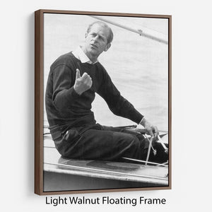 Prince Philip resting after racing at Cowes Isle of Wight Floating Frame Canvas