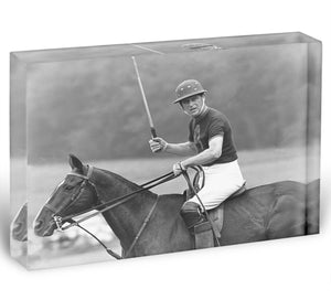 Prince Philip shown winning the polo Gold Cup Acrylic Block - Canvas Art Rocks - 1
