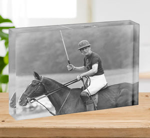 Prince Philip shown winning the polo Gold Cup Acrylic Block - Canvas Art Rocks - 2