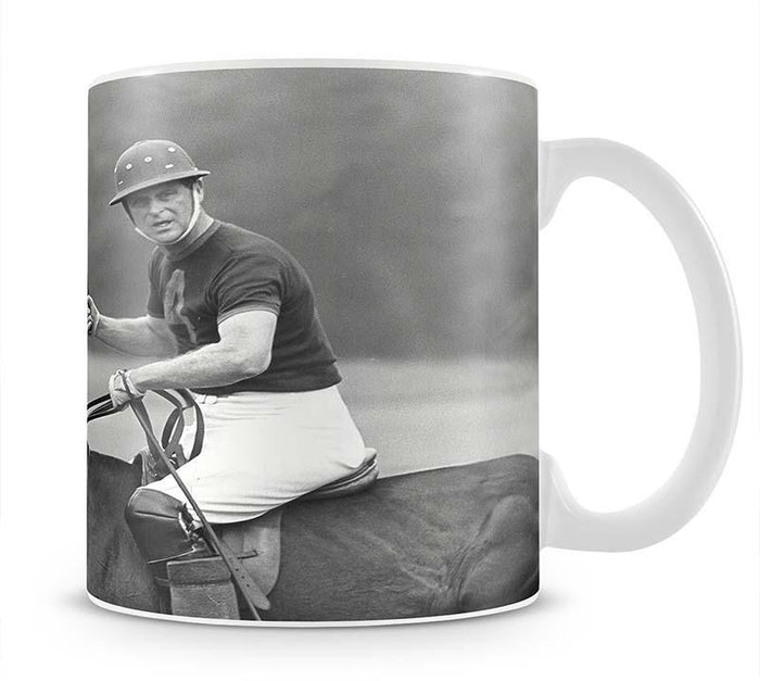 Prince Philip shown winning the polo Gold Cup Mug