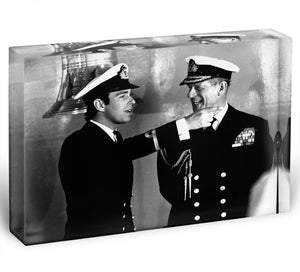Prince Philip with Prince Edward at Falklands homecoming Acrylic Block - Canvas Art Rocks - 1