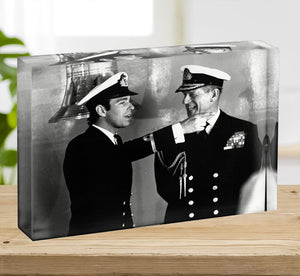 Prince Philip with Prince Edward at Falklands homecoming Acrylic Block - Canvas Art Rocks - 2