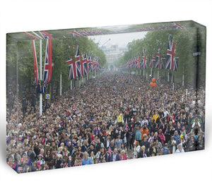 Prince William and Kate crowds for their wedding on The Mall Acrylic Block - Canvas Art Rocks - 1