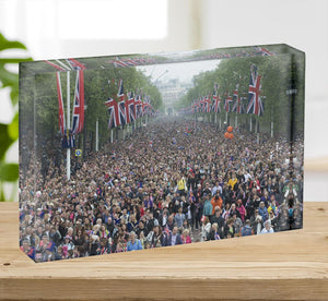 Prince William and Kate crowds for their wedding on The Mall Acrylic Block - Canvas Art Rocks - 2
