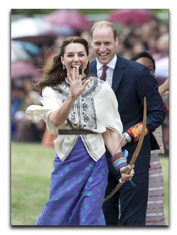 Prince William and Kate laughing trying archery in Bhutan Canvas Print or Poster  - Canvas Art Rocks - 1