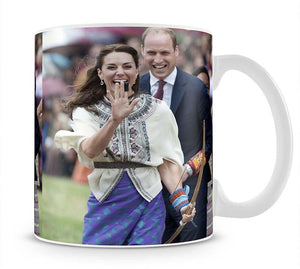 Prince William and Kate laughing trying archery in Bhutan Mug - Canvas Art Rocks - 1