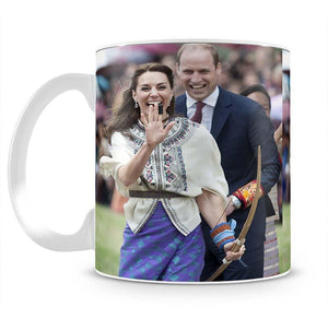 Prince William and Kate laughing trying archery in Bhutan Mug - Canvas Art Rocks - 2