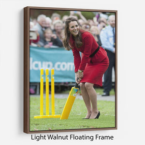 Prince William and Kate playing cricket in New Zealand Floating Frame Canvas