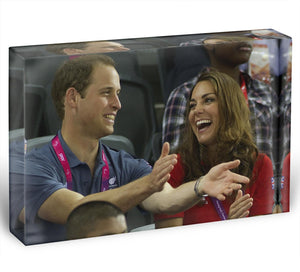 Prince William and Kate watching cycling at the 2012 Olympics Acrylic Block - Canvas Art Rocks - 1