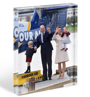 Prince William and Kate with George and Charlotte in Canada Acrylic Block - Canvas Art Rocks - 1