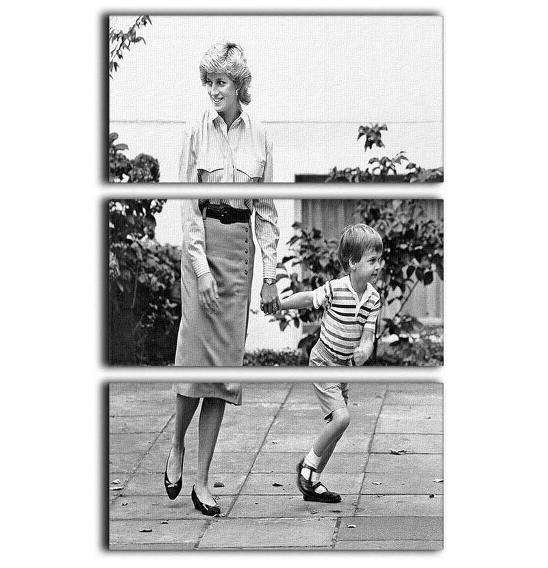 Prince William with Princess Diana dropping Harry at school 3 Split Panel Canvas Print - Canvas Art Rocks - 1