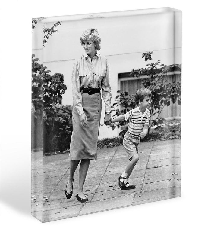 Prince William with Princess Diana dropping Harry at school Acrylic Block
