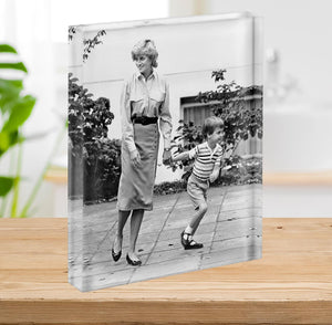 Prince William with Princess Diana dropping Harry at school Acrylic Block - Canvas Art Rocks - 2