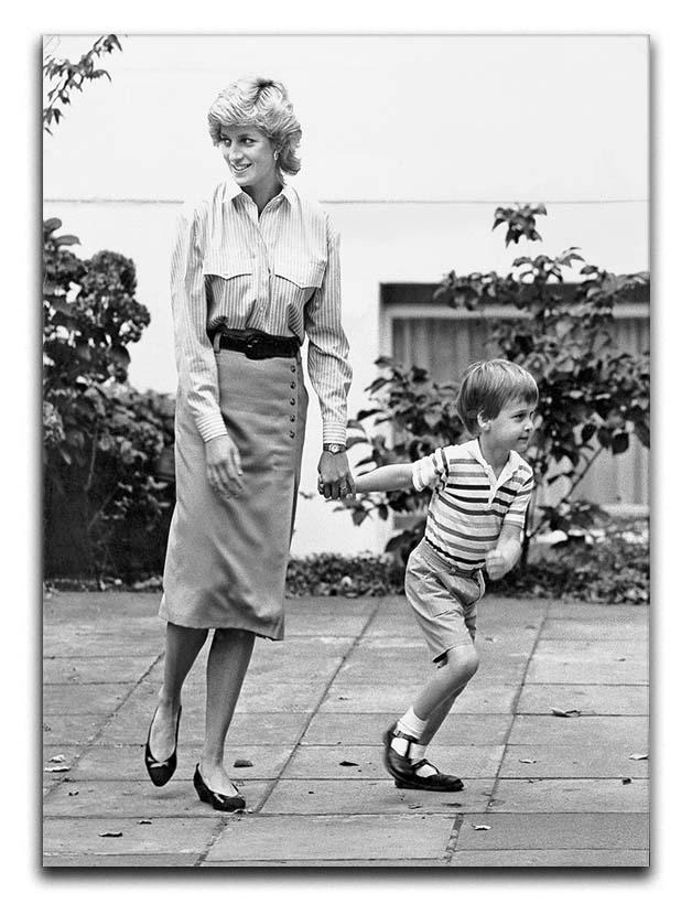 Prince William with Princess Diana dropping Harry at school Canvas Print or Poster  - Canvas Art Rocks - 1