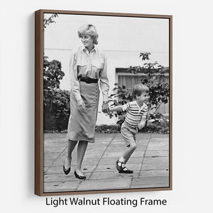 Prince William with Princess Diana dropping Harry at school Floating Frame Canvas