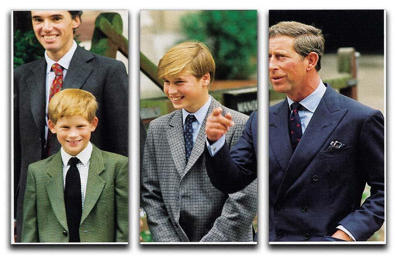 Prince Williams first day at Eton with Prince Charles 3 Split Panel Canvas Print - Canvas Art Rocks - 1
