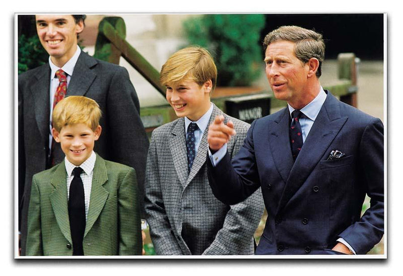 Prince Williams first day at Eton with Prince Charles Canvas Print or Poster  - Canvas Art Rocks - 1
