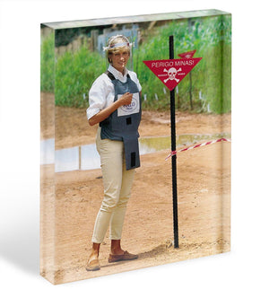 Princes Diana at a mine field in Angola for a Red Cross visit Acrylic Block - Canvas Art Rocks - 1