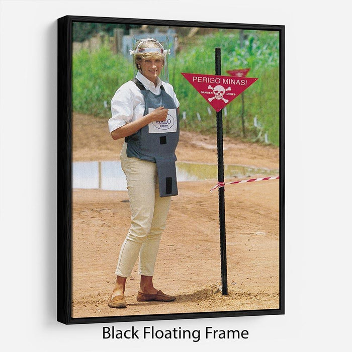 Princes Diana at a mine field in Angola for a Red Cross visit Floating Frame Canvas