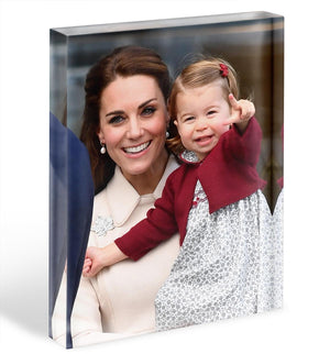 Princess Charlotte held by her mother Kate Acrylic Block - Canvas Art Rocks - 1