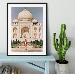 Princess Diana at the Taj Mahal in India Framed Print - Canvas Art Rocks - 1