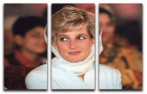 Princess Diana in Lahore wearing a white headscarf 3 Split Panel Canvas Print - Canvas Art Rocks - 1