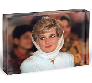 Princess Diana in Lahore wearing a white headscarf Acrylic Block - Canvas Art Rocks - 1