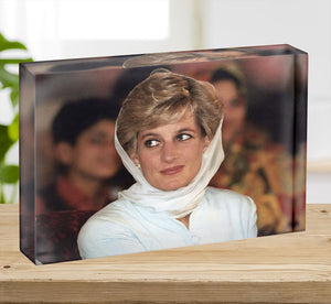 Princess Diana in Lahore wearing a white headscarf Acrylic Block - Canvas Art Rocks - 2