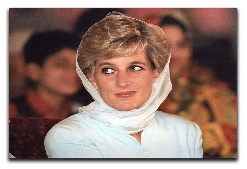 Princess Diana in Lahore wearing a white headscarf Canvas Print or Poster  - Canvas Art Rocks - 1
