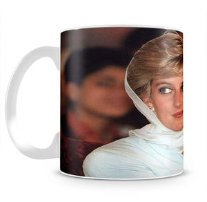 Princess Diana in Lahore wearing a white headscarf Mug - Canvas Art Rocks - 2
