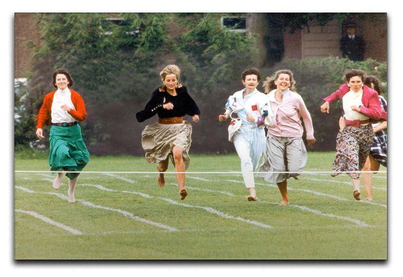 Princess Diana in the mothers race at Harrys school Canvas Print or Poster  - Canvas Art Rocks - 1