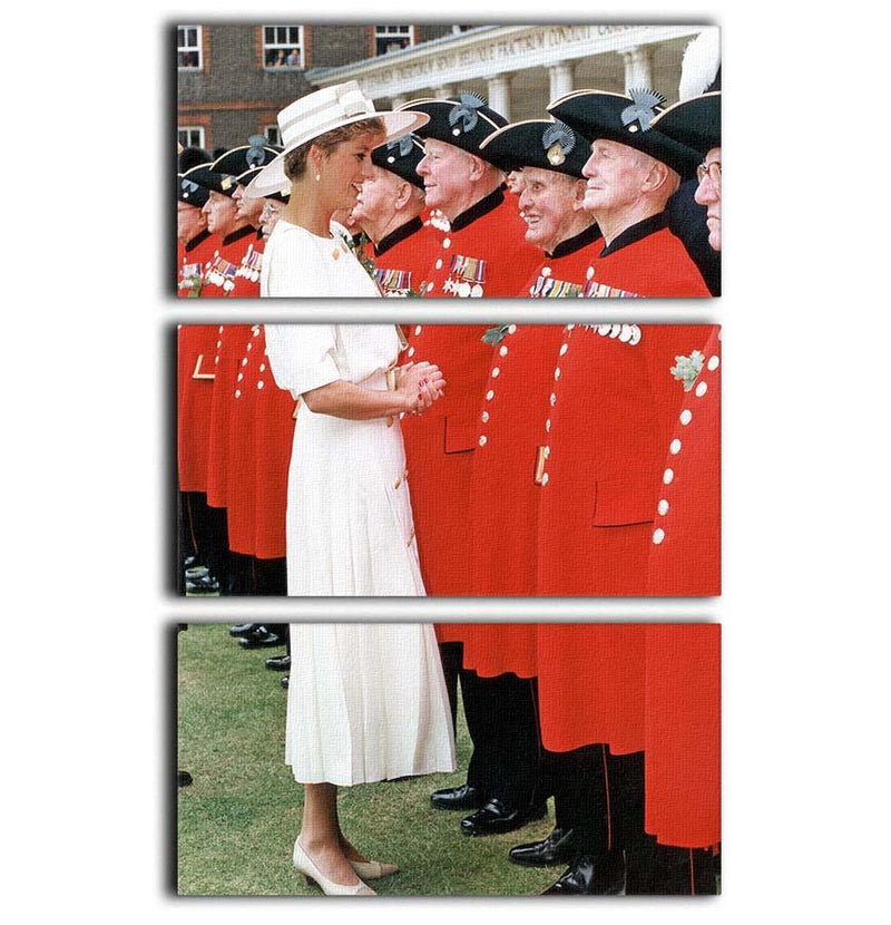 Princess Diana meeting pensioners at Royal Hospital Chelsea 3 Split Panel Canvas Print - Canvas Art Rocks - 1