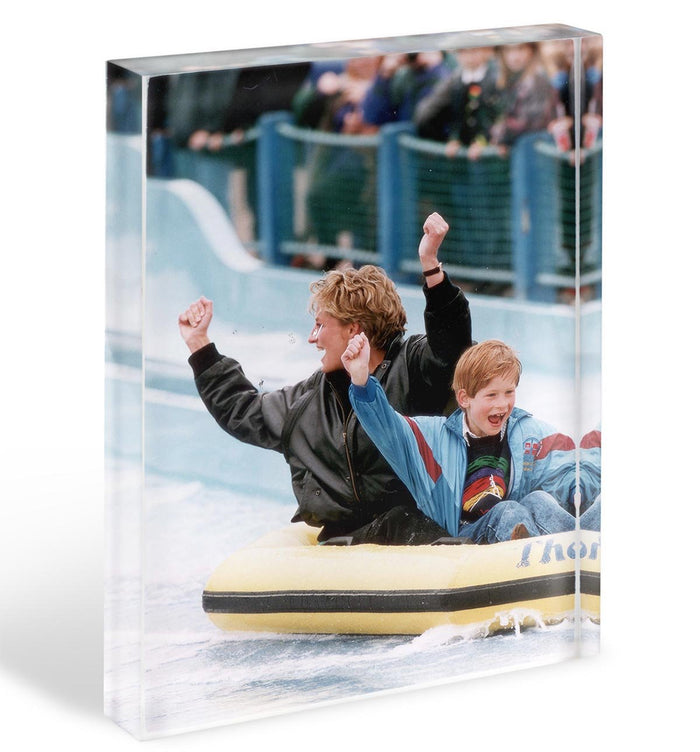 Princess Diana with Prince Harry on a water ride Acrylic Block