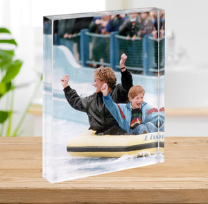 Princess Diana with Prince Harry on a water ride Acrylic Block - Canvas Art Rocks - 2