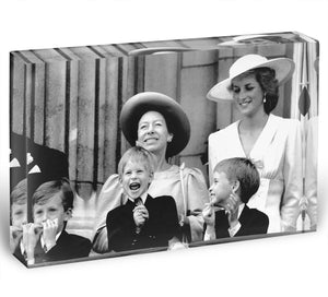 Princess Diana with Prince Harry watching Trooping the Colour Acrylic Block - Canvas Art Rocks - 1