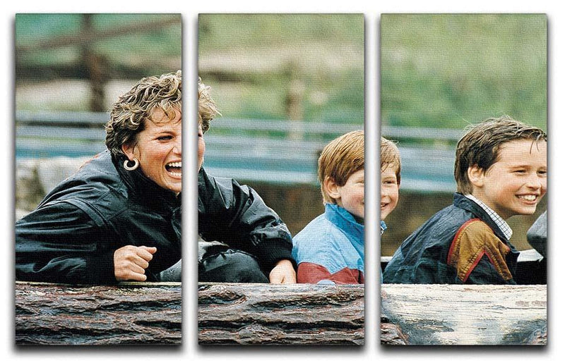 Princess Diana with Prince William and Prince Harry on ride 3 Split Panel Canvas Print - Canvas Art Rocks - 1