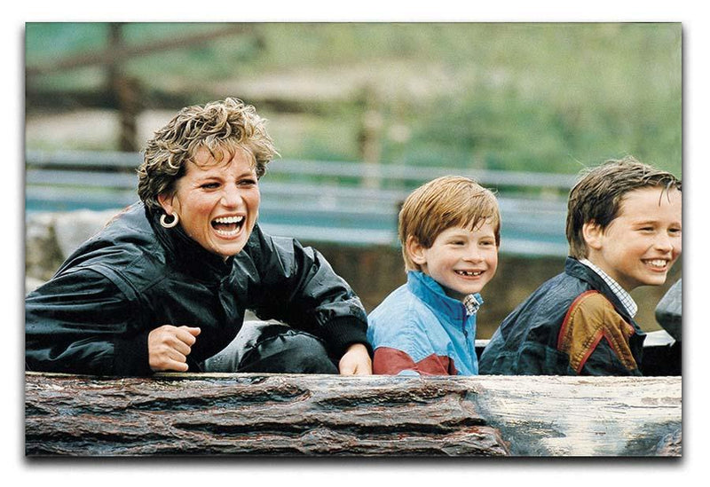 Princess Diana with Prince William and Prince Harry on ride Canvas Print or Poster  - Canvas Art Rocks - 1