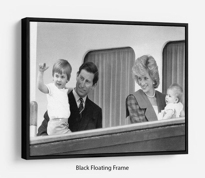 Princess Diana with family aboard the Royal Yacht Britannia Floating Frame Canvas