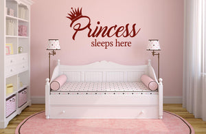 Princess Sleeps Here Wall Decal - Canvas Art Rocks - 1