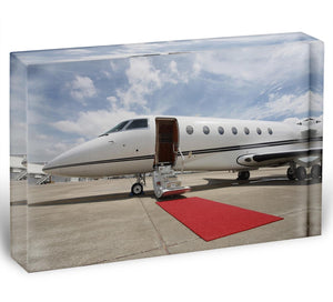 Private airplane with red carpet Acrylic Block - Canvas Art Rocks - 1