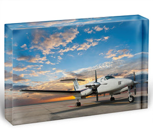 Propeller plane parking at the airport Acrylic Block - Canvas Art Rocks - 1