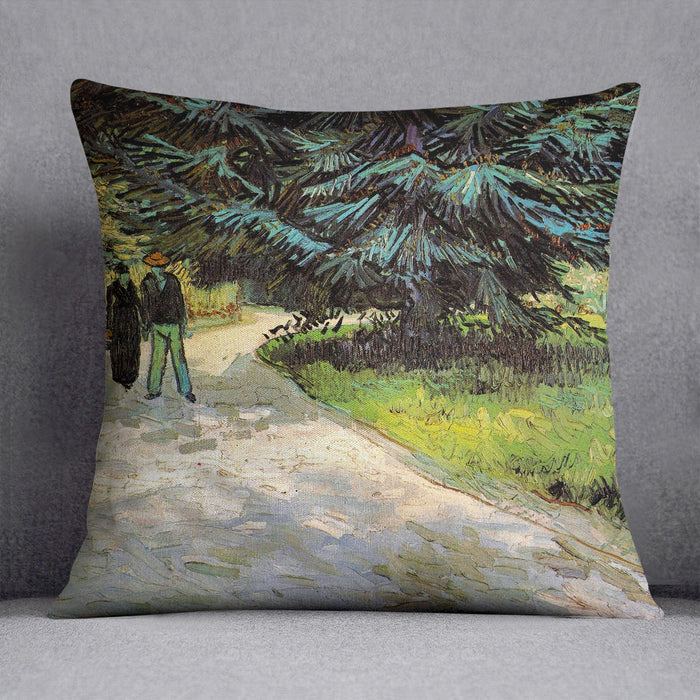Public Garden with Couple and Blue Fir Tree The Poet s Garden III by Van Gogh Throw Pillow