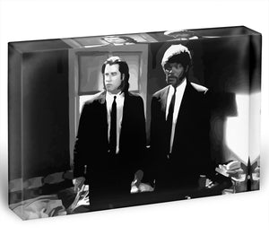 Pulp Fiction Black and White Acrylic Block - Canvas Art Rocks - 1
