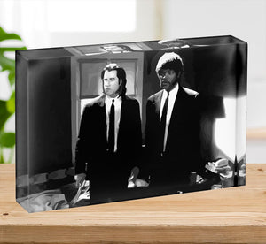 Pulp Fiction Black and White Acrylic Block - Canvas Art Rocks - 2