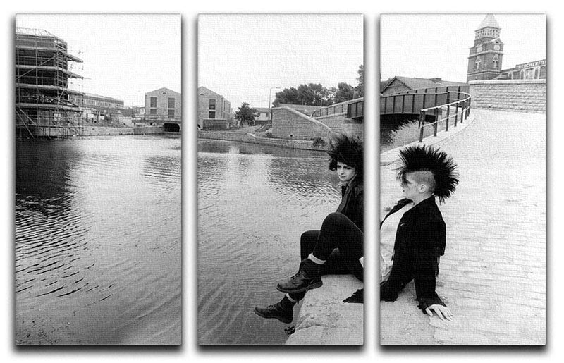 Punks by the canal 3 Split Panel Canvas Print - Canvas Art Rocks - 1
