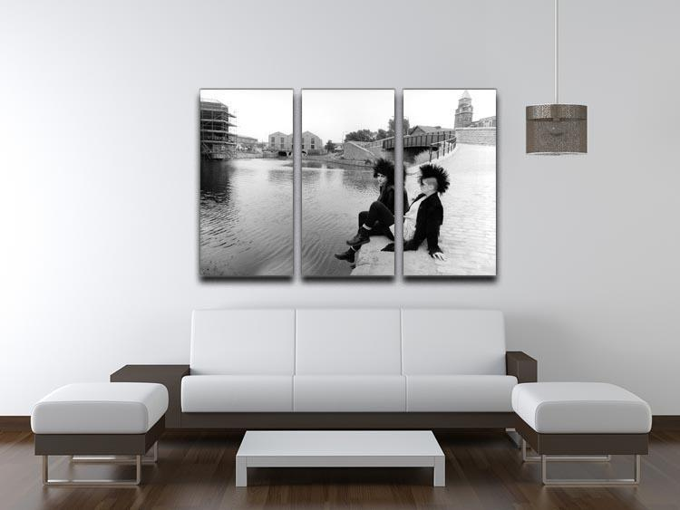 Punks by the canal 3 Split Panel Canvas Print - Canvas Art Rocks - 3